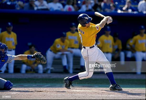Tim Lanier of the Louisiana State Tigers in action during an NCAA World Series game against the Florida Gators at Rosenblatt Stadium in Omaha...
