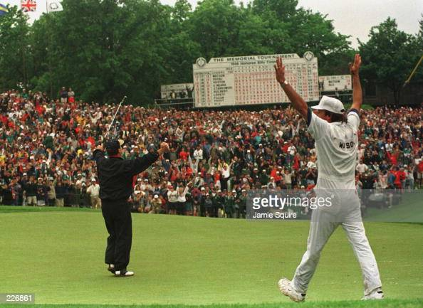 Tom Watson celebrates his victory as he birdies the 18th hole during the final round of The Memorial Tournament at Muirfield Village Golf Club in...