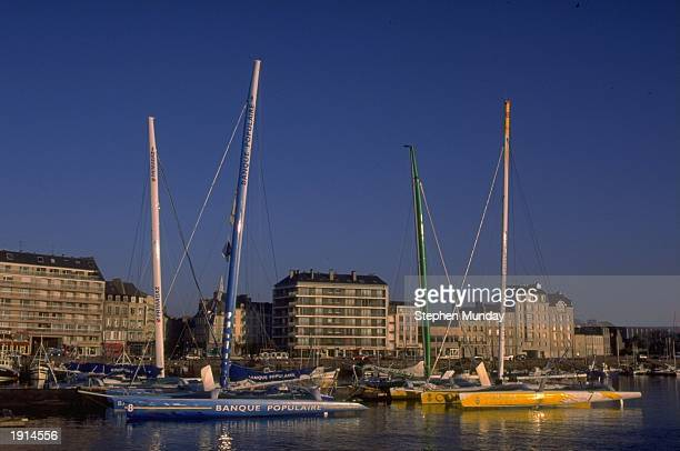 A general view of multihulls in Marina Chantereyne at the start of leg one of the Round Europe Race in Cherbourg in France Mandatory Credit Stephen...