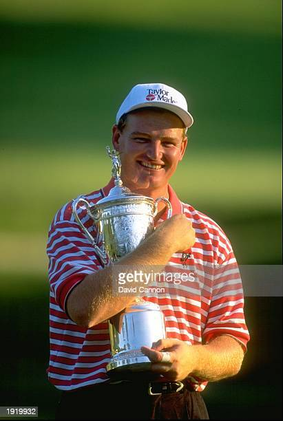 Ernie Els of South Africa hugs the trophy after winning the US Open at the Congressional Country Club in Bethesda Maryland USA Mandatory Credit David...