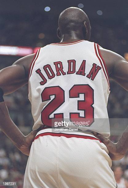 Guard Michael Jordan of the Chicago Bulls stands on the court during a playoff game against the Utah Jazz at the United Center in Chicago Illinois...