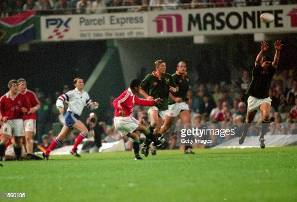 Jeremy Guscott of the British Lions drops the winning goal against South Africa during the Second Test at Kings Park in Durban South Africa The Lions...
