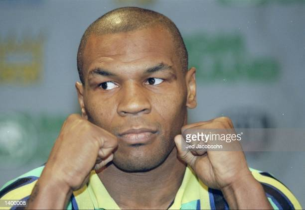 Mike Tyson at a press conference before a bout against Evander Holyfield at the MGM Grand Garden in Las Vegas Nevada Holyfield won the fight with a...