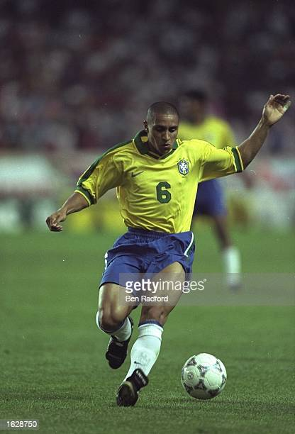Roberto Carlos of Brazil in action during the Tournoi de France match against Italy in Lyon France The match ended in a 33 draw Mandatory Credit Ben...