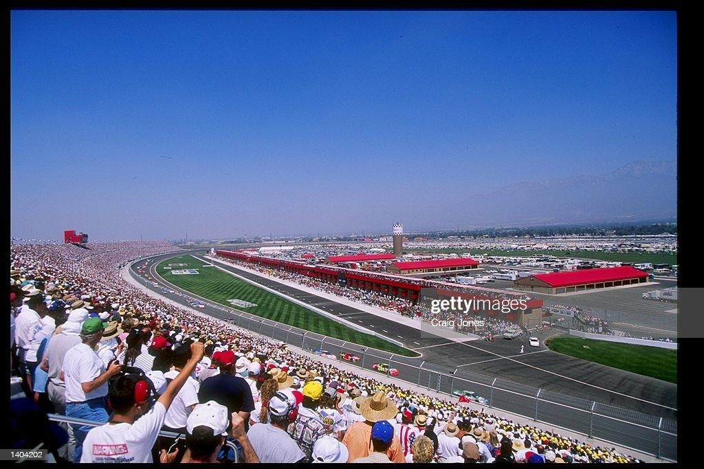 This a general view of the race action at the California 500 at the California Speedway in Fontana California Mandatory Credit Craig Jones /Allsport