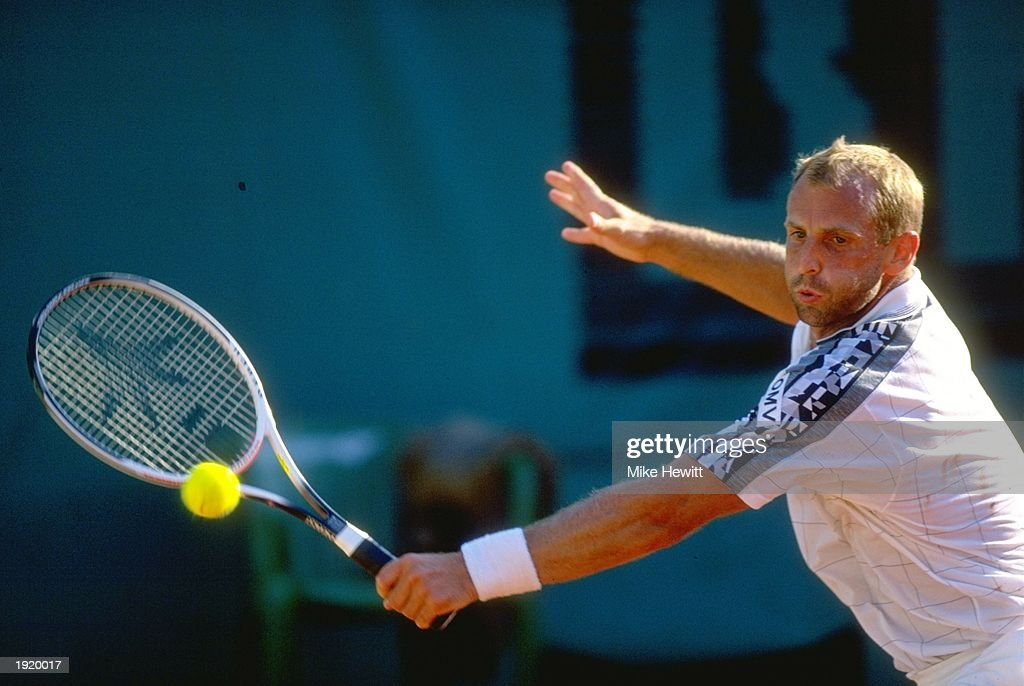 Thomas Muster of Austria plays a backhand return during the French Open at Roland Garros in Paris Mandatory Credit Mike Hewitt/Allsport