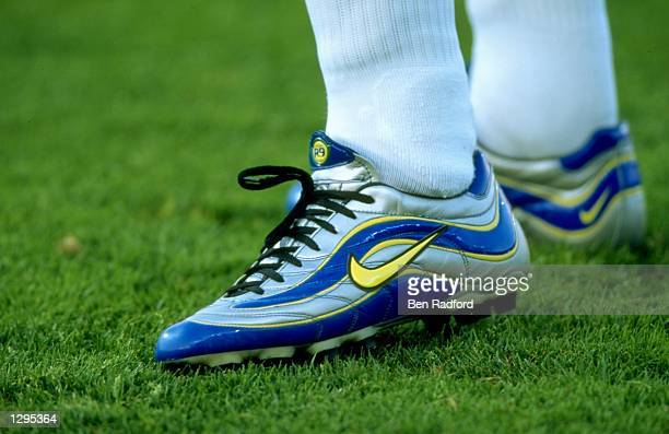 A closeup of Ronaldo's boots in the match between Brazil v Norway in the 1998 World Cup played in Marseille France Mandatory Credit Ben Radford...