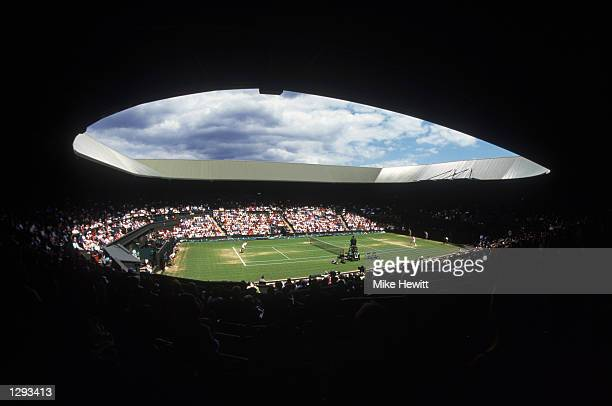 A general view of Centre Court from the stands during the 1998 Wimbledon Championships played at Wimbledon London England Mandatory Credit Mike...