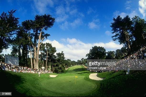 A general view of the 18th hole during the 1998 US Open Championships on the 6797yard par70 Lake Course at The Olympic Club in San Francisco...