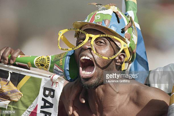 A South Africa fan shows his support during the World Cup group C game against Denmark at the Stade de la Beaujoire in Nantes France The match ended...