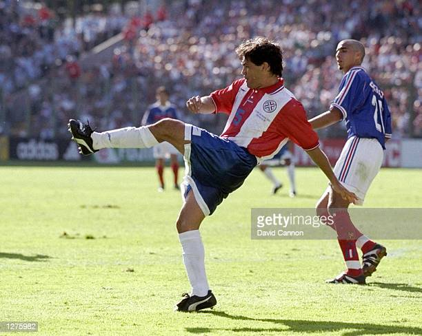 Celso Ayala of Paraguay in action during the World Cup second round match against France at the Felix Bollaert Stadium in Lens France France won the...