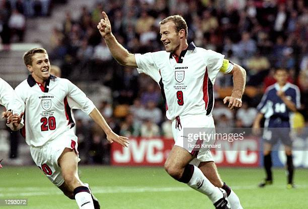 England captain Alan Shearer celebrates his goal during the World Cup second round match against Argentina at the Stade Geoffroy Guichard in St...