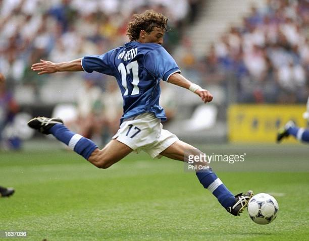 Francesco Moriero of Italy shoots during the World Cup group B game against Austria at the Stade de France in St Denis Italy won 21 Mandatory Credit...