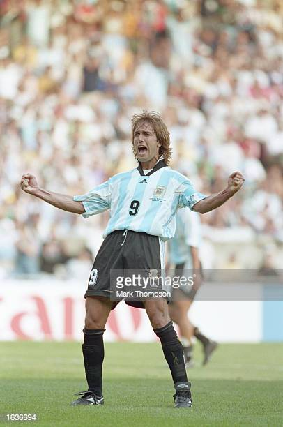 Gabriel Batistuta of Argentina celebrates after scoring in the World Cup group F match against Jamaica at the Parc des Princes in Paris Batistuta...