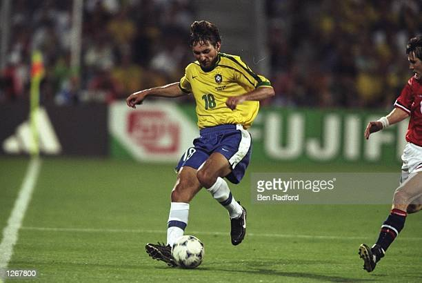 Leonardo of Brazil in action during the World Cup group A game against Norway at the Stade Velodrome in Marseille France Mandatory Credit Ben Radford...