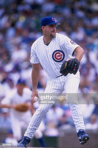 Mark Clark of the Chicago Cubs in action during a game against the Philadelphia Phillies at Wrigley Field in Chicago Illinois The Phillies defeated...