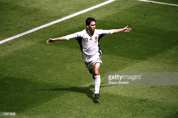 Raul of Spain celebrates his goal against Nigeria in the World Cup group D game at the Stade de la Beaujoire in Nantes France Mandatory Credit Shaun...