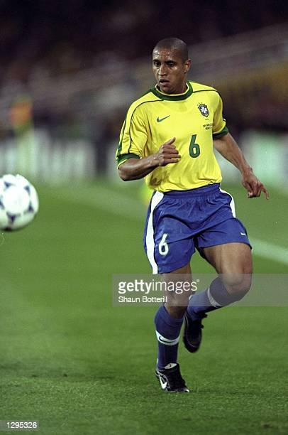 Roberto Carlos of Brazil controls the ball in the match between Brazil v Morroco in the 1998 World Cup played in Nantes France Mandatory Credit Shaun...