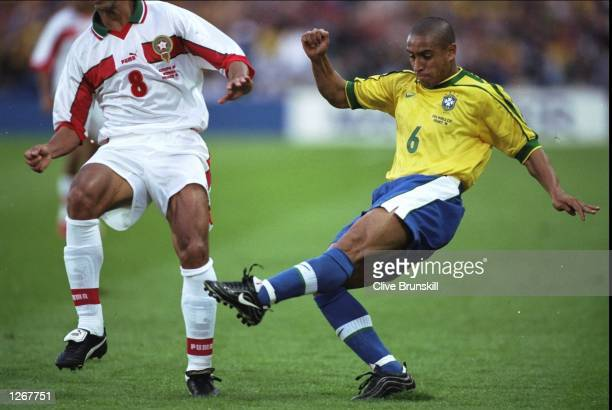 Roberto Carlos of Brazil in action during the World Cup group A game against Morocco at the Stade de la Beaujoire in Nantes France Mandatory Credit...