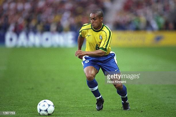 Roberto Carlos of Brazil on the ball during the World Cup group A game against Morocco at the Stade de la Beaujoire in Nantes France Mandatory Credit...