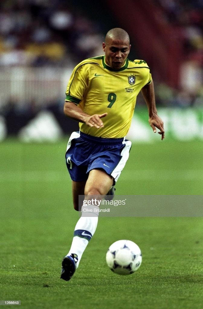 Ronaldo of Brazil on the ball during the World Cup second round match against Chile at the Parc des Princes in Paris. Ronaldo scored twice as Brazil won 4-1. \ Mandatory Credit: Clive Brunskill /Allsport
