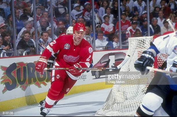 Viacheslav Fetisov of the Detroit Red Wings in action during the Stanley Cup Finals game against the Washington Capitals at the MCI Center in...