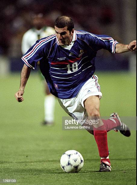Zinedine Zidane of France on the ball during the World Cup group C game against South Africa at the Stade Velodrome in Marseille France France won 30...