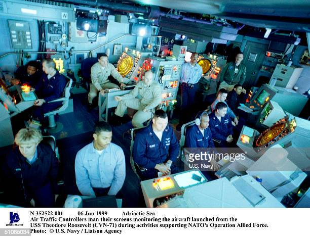 Jun 1999 Adriactic Sea Air Traffic Controllers Man Their Screens Monitoring The Aircraft Launched From The USS Theodore Roosevelt During Activities...