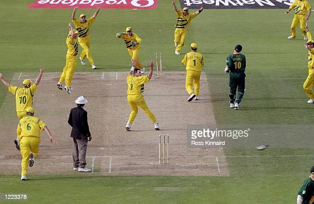 Allan Donald of South Africa is run out and Australia go through to the World Cup final after a dramatic semifinal at Edgbaston in Birmingham England...