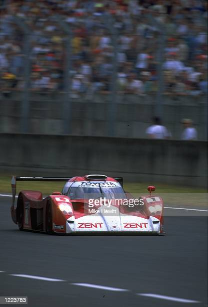Brundle Collard and Sospiri drivers of the Toyota GT One team car in action during the Le Mans 24 Hour Race held at the Circuit De La Sarthe in...