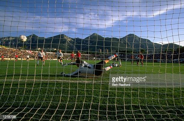 Carl Cort of England scores the winning goal during the Under 21 European Championships 2000 Qualifying match against Bulgaria played in Vratsa...