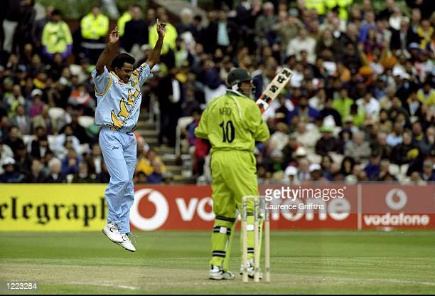 Javagal Srinath of India takes the wicket of Shahid Afridi of Pakistan in the World Cup Super Six match at Old Trafford in Manchester England India...