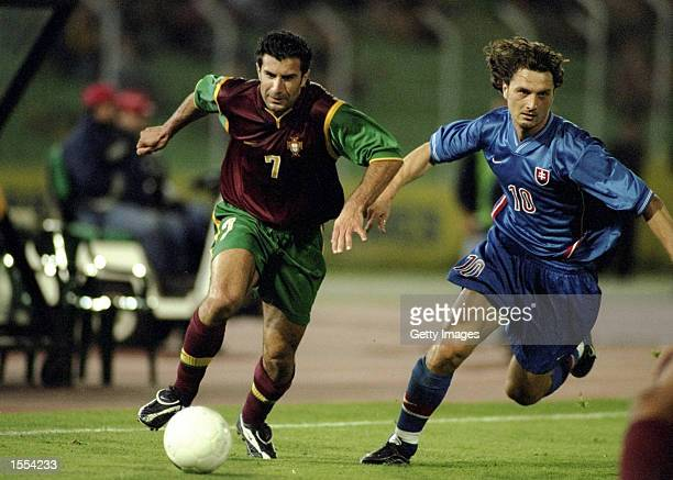 Luis Figo of Portugal on the ball during the European Championship qualifier against Slovakia in Lisbon Portugal Pic Nuno Correia Mandatory Credit...