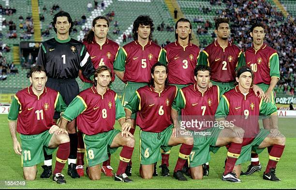 Portugal line up for the European Championship qualifier against Slovakia in Lisbon Portugal Pic Nuno Correia Mandatory Credit Allsport UK /Allsport