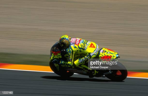 Valentino Rossi who rides an Aprilia250 bike in action during the FIM Italian Motorcycle Grand Prix held at the Mugello circuit in Tuscany Italy...