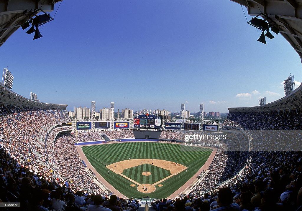 A general view of Comiskey Park during the game between the Chicago White Sox and the New York Yankees in Chicago Illinois The White Sox defeated the...