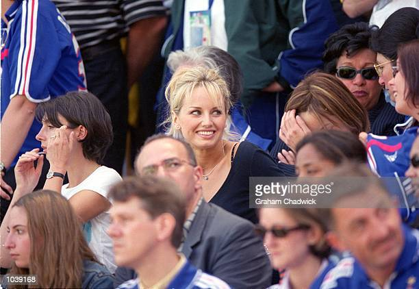 Adriana Karembeu during the European Championship Group Stage match between France and the Czech Republic at the Jan Breydel Stadium Brugge Belgium...