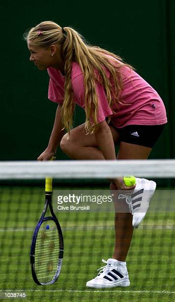 Anna Kournikova of Russia feels her ankle during practices at the Direct Line International Ladies Tennis Championship at Devonshire Park Eastbourne...