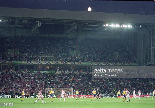 General view of the action during the European Championships 2000 group match between Sweden and Turkey at the Philips Stadium in Eindhoven Holland...
