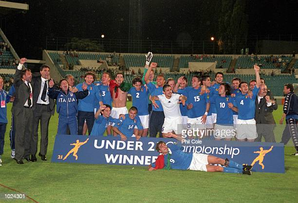Italy celebrate after the European Championships Under 21 Final against Czech Republic at the Slovan Stadium Bratislava Slovakia Italy won 21...