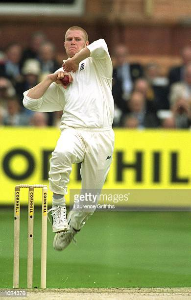 Matthew Hoggard of England bowls during the first day's play of the England v West Indies second Cornhill test match at Lord's Cricket Ground London...