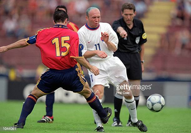Miroslav Barcik of Slovakia is challenged by Albelda of Spain during the European Under21 Championships 2000 third place playoff at the Inter Stadium...