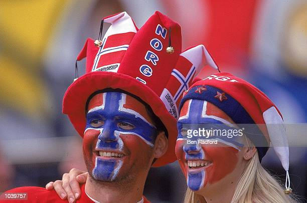 Norway fans celebrate during the European Championships 2000 Group C match against Spain at the De Kuip Stadium Rotterdam Holland Norway won 10...