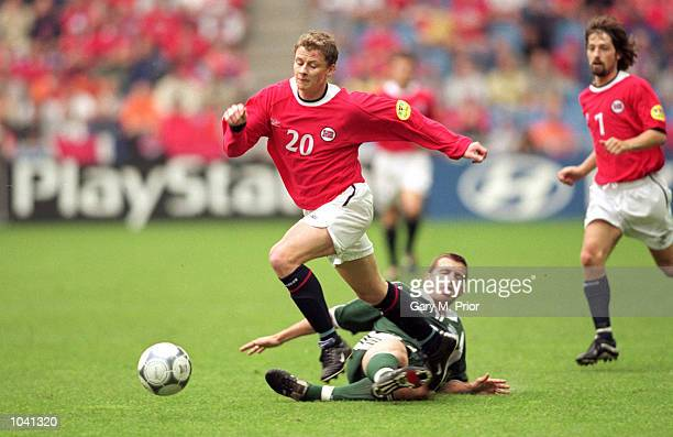 Ole Gunnar Solskjaer of Norway in action during the European Championships 2000 group match against Slovenia at the Gelredome in Arnhem Holland The...