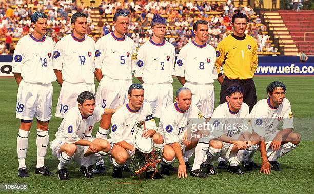 Slovakia lineup before the European Under21 Championships match against Spain played at the Inter Stadium in Bratislava Slovakia Spain won the match...