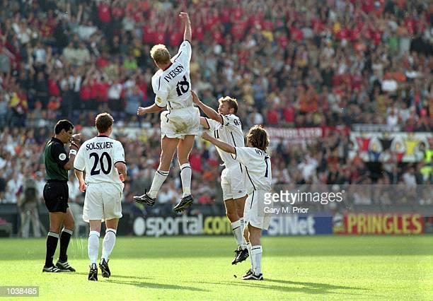 Steffen Iversen of Norway celebrates during the Euro 2000 Group match against Spain in the De Kuip Stadium Rotterdam Holland Norway won 10 Mandatory...