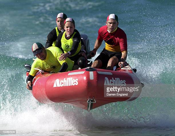 The Trigg Island Surf Life Saving club IRB boat crew in action during the mass rescue event at the 2000 Australian IRB Rescue Championships at Kawana...