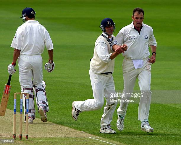 Angus Fraser captain of Middlesex celebrates after dismissing Mark Wagh of Warwickshire for 10 on the second day of the CricInfo County Championship...