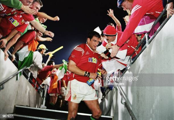 British Lions Captain Martin Johnson is congratulated by fans after the Australia v British Lions match as part of the Lions Tour to Australia played...