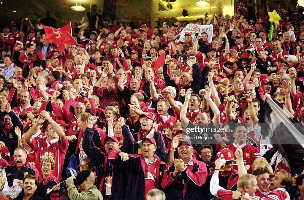 British Lions supporters cheer for their team during the First Test Match played between the Australian Wallabies and the British and Irish Lions...
